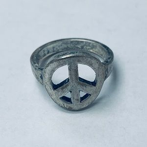 Silver Peace Sign Ring